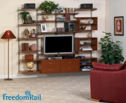 Schulte freedomRail entertainment center in cherry